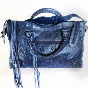 BALENCIAGA Bag Authentic Real Leather blue navy